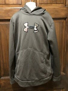 Boys Under Armour Green Camo Big Logo Loose Pullover Hoodie Sweatshirt YXL $10.00