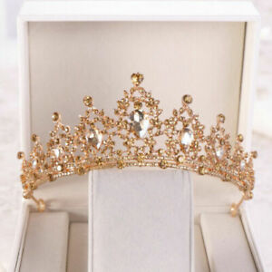 Champagne Gold Queen Tiara Crown Wedding Bridal Party Prom Pageant 8 Colors $8.99