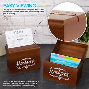 Vintage Wood Recipe Box with Recipe Holder 75 4x6 Recipe Cards 10 Card Dividers $18.95