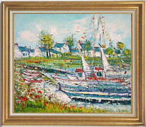 YOLANDE ARDISSONE~LISTED ARTIST~FISHING BOATS IN BRITTANY~ORIGINAL OIL PAINTING