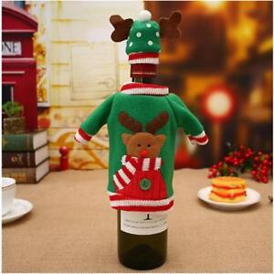 Christmas Wine Bottle Cover Gift Wrapping Knitted Sweater Scarves Hat Home LP