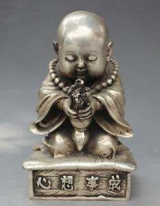 China Tibet Silver Carve Little Buddha Sincerity Pray Come True Lucky Statue