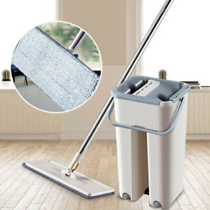 Self Cleaning Drying Flat Squeeze Microfiber Mop And Bucket Floor Free Hand Wash