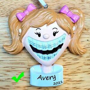 NAME PERSONALIZED Oral Dental Teeth Braces Smile Girl Christmas Ornament GIFT