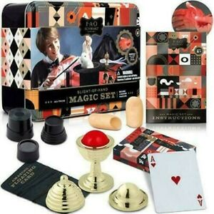 FAO Schwarz : Slight of Hand : Magic Set in Tin Box 40 Tricks : NEW