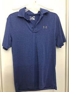 Under Armour Mens Small Short Sleeve Blue Striped Athletic Polo Golf Shirt