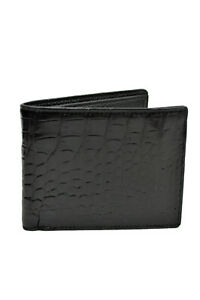 Fashion Mens Black Crocodile Leather Bifold Wallet With ID Card Slot 8117-5