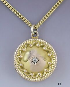 Charming Victorian 10k Gold & Diamond Locket w Goldfilled Chain