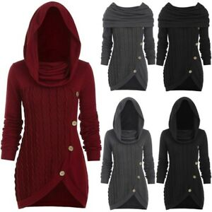 Women's Plus size Solid Button Hooded Warm Heap Collar Irregular Knitted Sweater $27.48