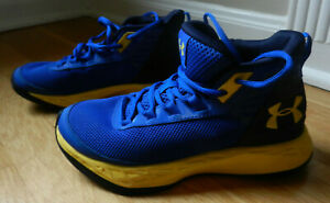 Under Armour USA Youth Size 5 Basketball Shoes Blue Yellow