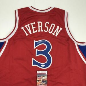 Autographed Signed ALLEN IVERSON Philadelphia Red Basketball Jersey JSA COA Auto $199.99