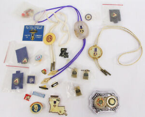 Lot of Military Order Purple Heart Bolo Ties Pins and Miscellaneous Items