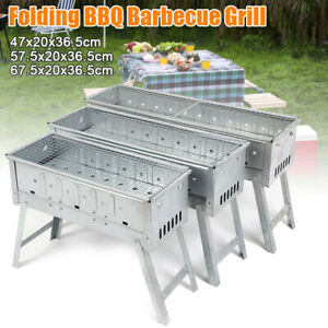 Barbecue Grill Folding Portable Charcoal Stove Camping Shish Kebab Stainless BBQ