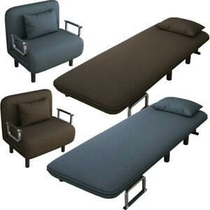 Sleeper Sofa Folding Flip Chair Convertible Bed Lounge Couch Pillow w Dust Cover