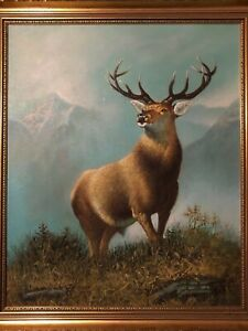 Victorian Style Oil Painting Stag Deer Portrait After Sir Edwin Henry Landseer
