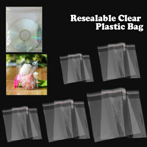 1.5Mil Clear Reclosable Self Adhesive Lip Tape Poly Plastic Bags Various Sizes