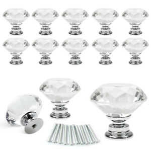 10Pcs 30mm Crystal Glass Cabinet Knob Diamond Drawer Cupboard Handle Pull Screw