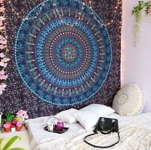 Indian Handmade Pure Cotton Tapestry Hippie Mandala Size Bohemian Psychedelic $18.99