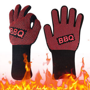 Heat Resistant Silicone BBQ Gloves Heat Cooking Grilling 932℉ Kitchen Oven Mit