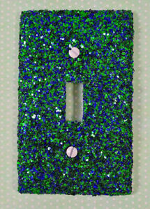 Mermaid Green & Dark Blue ~ Bling Light Switch Plates, Outlets Covers, & Rockers