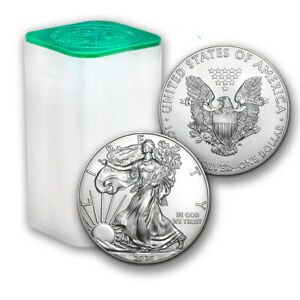 2020 1 oz American Silver Eagle Lot Roll of 20 Twenty $1 Coins in Mint Tube