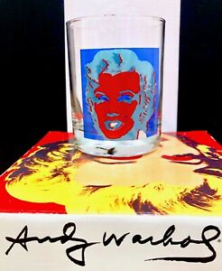 Andy Warhol Signed Blue Marilyn Monroe Old Fashion Glass Block Ware Glasses