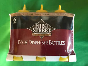 6 Pack 12oz. Yellow Plastic First Street Mustard Squeeze Bottles