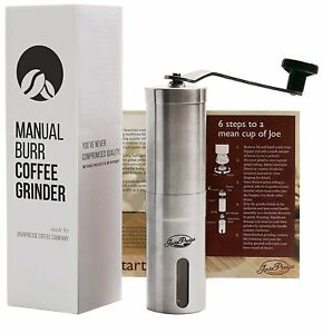 Conical Burr Bean Mill Portable Hand Crank Stainless Steel Manual Coffee Grinder