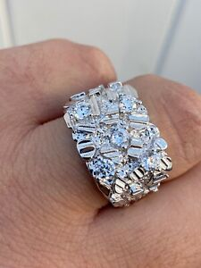 Mens REAL Solid 925 Sterling Silver Diamond Nugget Ring Sz 7 13 Hip Hop Ring ICY $38.99