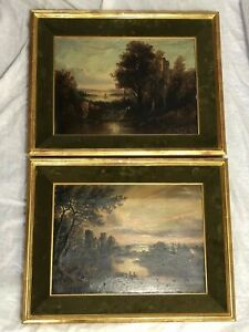 Pair Early Victorian Antique Castle Landscape Oil Paintings Signed J Russell