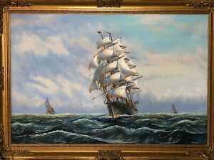Victorian Style Oil Painting Scottish Ship Sound Of Jura After George Chambers