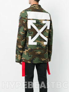 OFF-WHITE co VIRGIL ABLOH Arrows Printed Patch Field Jacket Camo Mens Small NWT