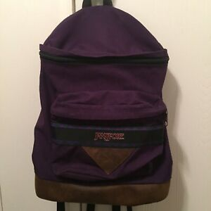 JANSPORT Purple Backpack Vtg 90s Leather Bottom Book Bag Hiking w Front Pocket $28.00