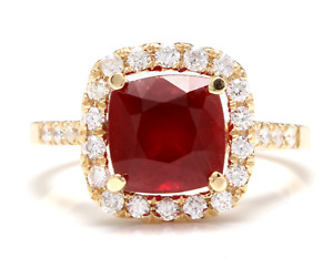 4.60 Carats Red Ruby and Natural Diamond 14K Solid Yellow Gold Ring