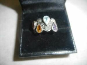 A 925 sterling amp; topaz amethyst tourmaline amp; citrine marcasite ring band 6.75