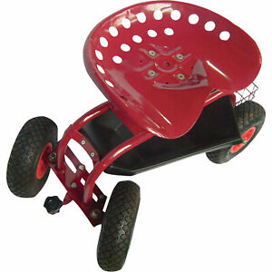 Rolling Garden Lawn Adjustable Metal Red Cart Seat Scooter with Turnbar