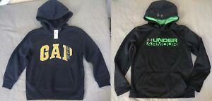 Boys Size 8 GAP Under Armor Hoodie Sweatshirt Lot of 2 MEDIUM COLDGEAR Pullover $48.84