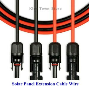 US 1 Pair Black Red Solar Panel Extension Cable Wire Connector 10 AWG