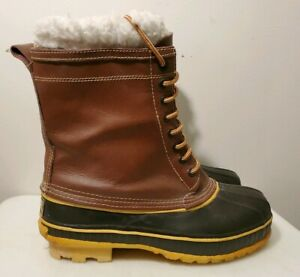 Rod amp; Gun Winter Insulated Brown Leather amp; Rubber Hunting Boots for Men Size 9