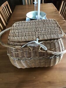 Wicker Picnic Basket for 2 With Plates, Wooden Flatware, Wine Glasses Cut Board