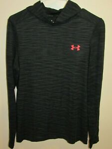 Under Armour Mens Gray Thin Hooded Sweatshirt Size S Fitted Heat Gear Threadborn $14.00