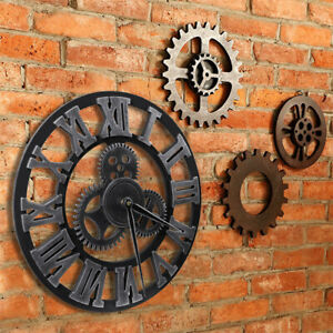 Large Outdoor Garden Wall Clock Roman Numeral Slient Giant 3D Round Face Vintage $19.98