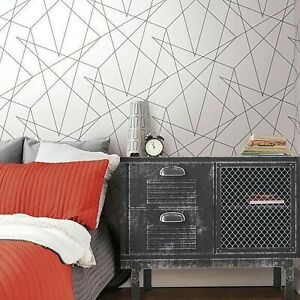 Contemporary Triangle Geometric lines wallpaper black white modern wallcoverings $79.99