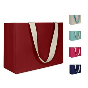 Reusable Canvas Shopping Tote Waterproof Interior Red Blue Beige Pink Teal