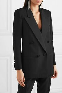 🖤 SAINT LAURENT YSL Black Wool Rope Button Double Breasted Blazer Jacket 46 14