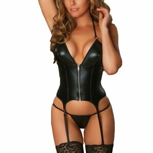 Porno Sexy Leather Lingerie Women Sets Langerie Garter With Thong Babydoll