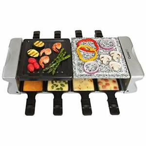 Dual Contact Grills Cheese Raclette Table W Non-stick Grilling Plate And Cooking