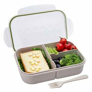 Kitchen Home Bento Leakproof Lunch Food Box Kids& Adult Containers Storage Fiber
