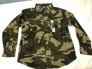 Faded Glory Boys Camo LS Flannel Button Up Shirt You Pick Hunting Casual $13.99