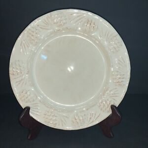 Target Home HOLIDAY PINE CONE Salad Plate Set 4Pc Embossed Pinecone Antique